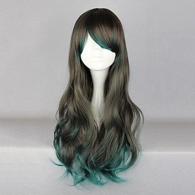 Zipper Gray 68cm Gothic Lolita Wig with Green Highlights