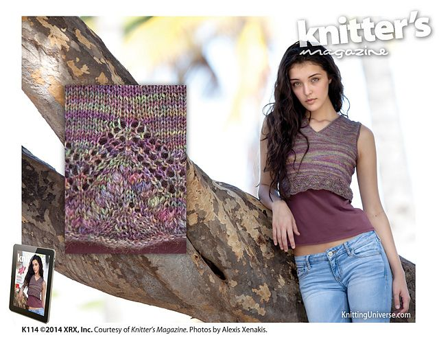 Knitter's Magazine 114, Spring 2014, is available on the magazine rack.   Majestic Tank pattern by Adrienne Larsen