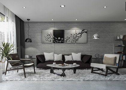 3D models  - LIVING ROOM - Modern Concrete Living Room - by Jessan YL | Sketchuptexture