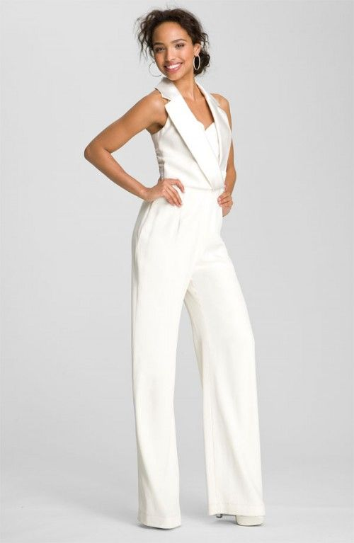 Theia Womens Off-White White Tuxedo Style Silk Jumpsuit Jump-Suit   Clothing