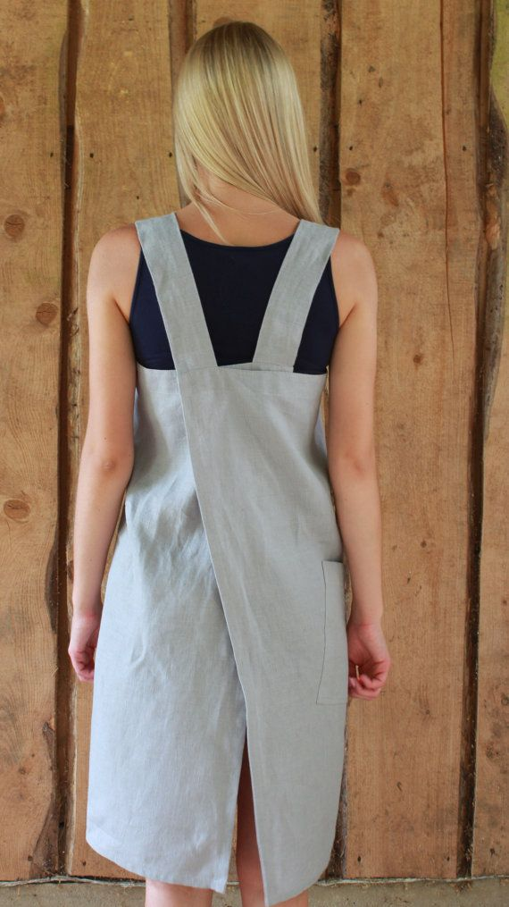 Pinafore / Linen Square-Cross Apron / No-ties by OldWallLinen