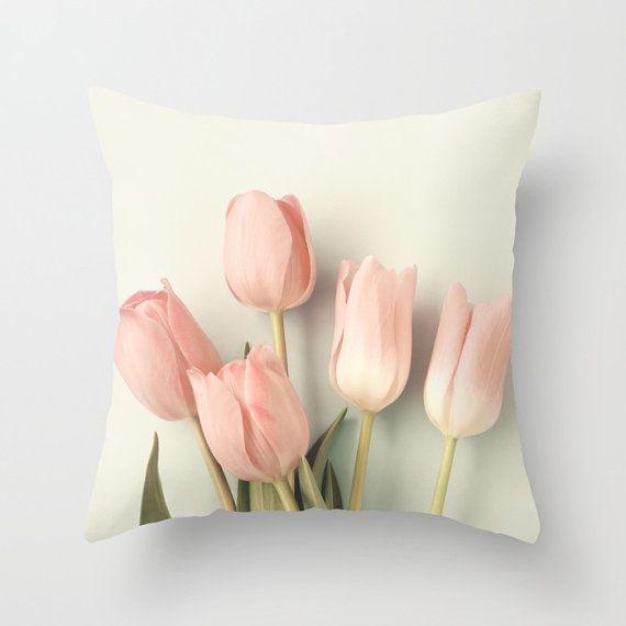 Blush pillow coral pillow girl room decor flower pillow