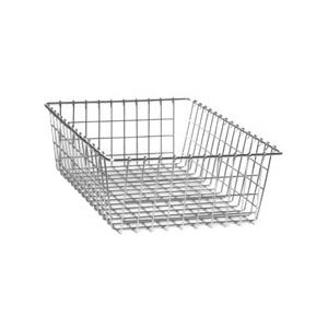 Wire baskets for storage.