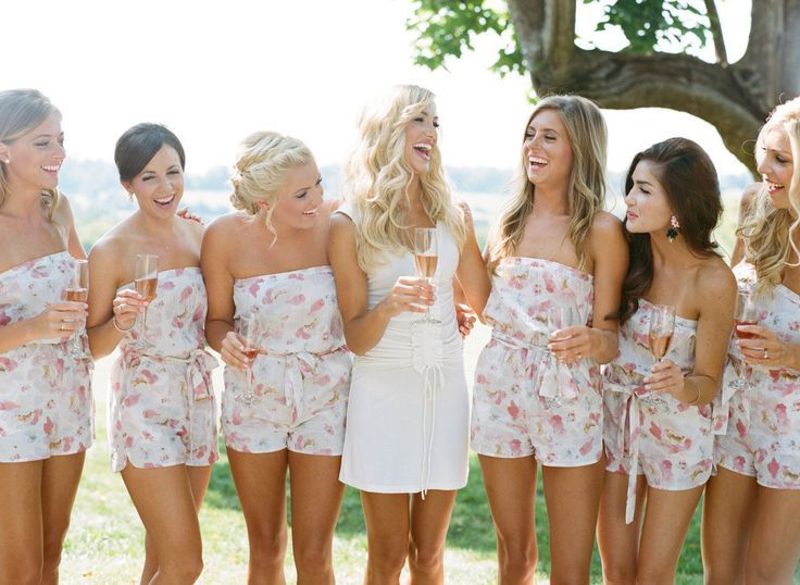 plum pretty sugar bridesmaids rompers http://itgirlweddings.com/blush-private-estate-wedding/