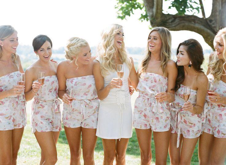 plum pretty sugar bridesmaids rompers http://itgirlweddings.com/blush-private-estate-wedding/