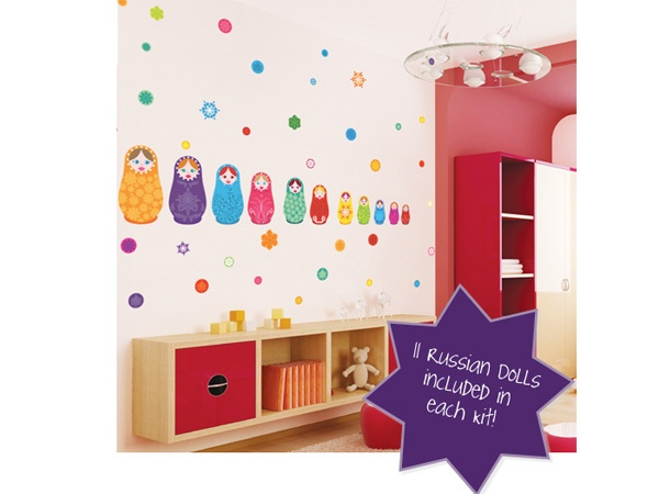Russian Dolls Multicoloured Removable Peel & Stick Wall Stickers