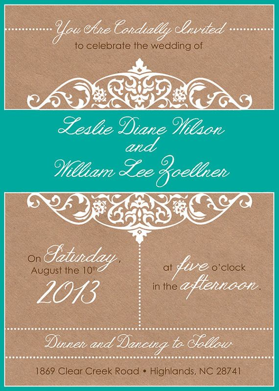 Vintage Country Wedding Invitation & RSVP Set by TypeMeetsPaper, $3.00