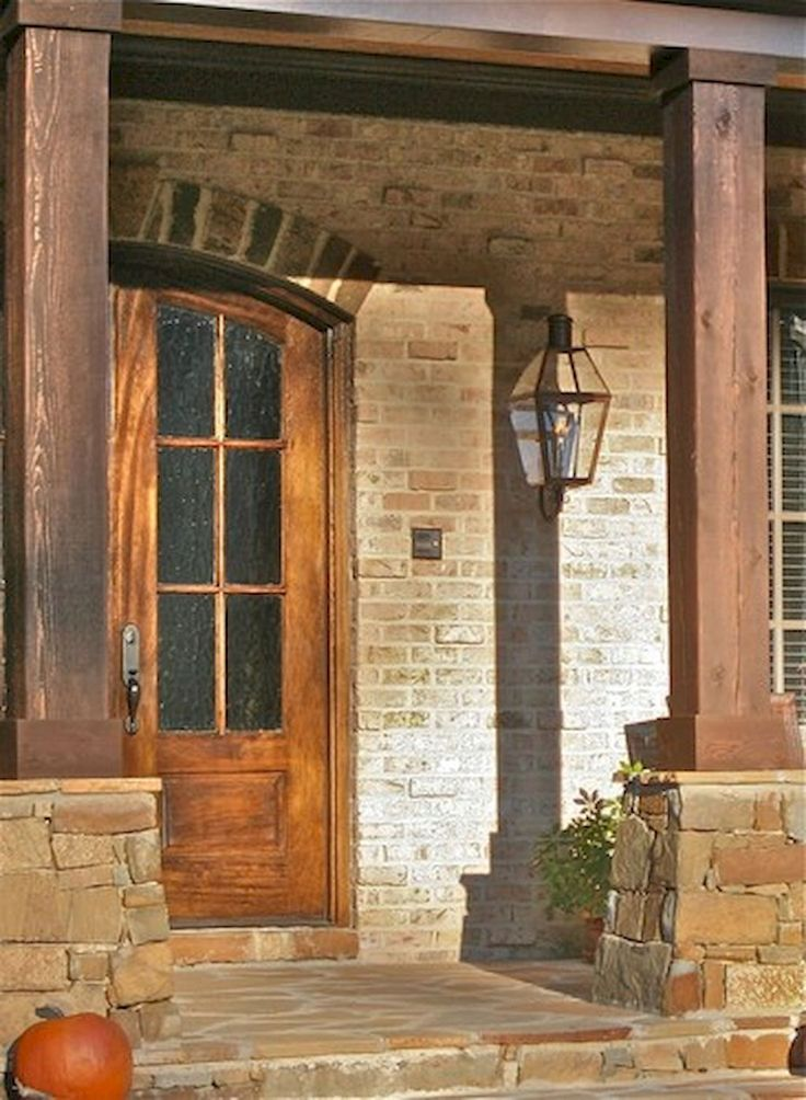 Houses With Stone Pillars : Gorgeous wooden and stone front porch ideas