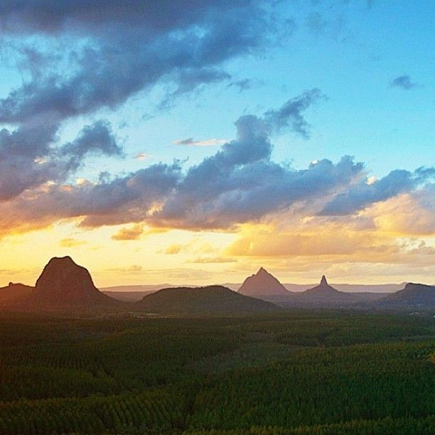 Sunset at the #Glass House Mountains, QLD #Australia