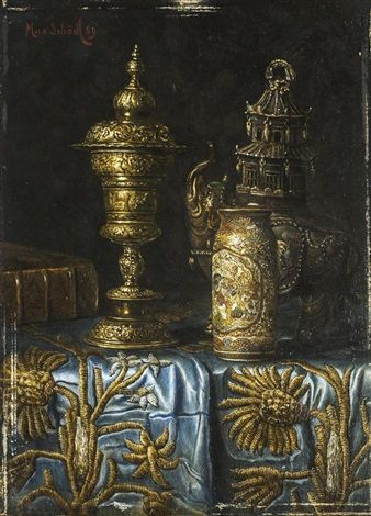 Max Schödl Still life with Japanese and western artifacts, 1889