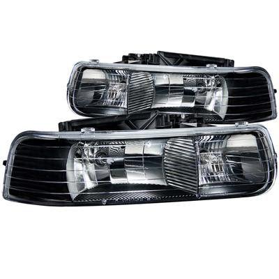01-02 Chevy Silverado Anzo Headlights Clear (Black)