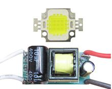 10W Square Base 30mil Pure White 6000K~6500K LED diodes Light Parts + AC 85~265V Non-Waterproof LED driver(China (Mainland))