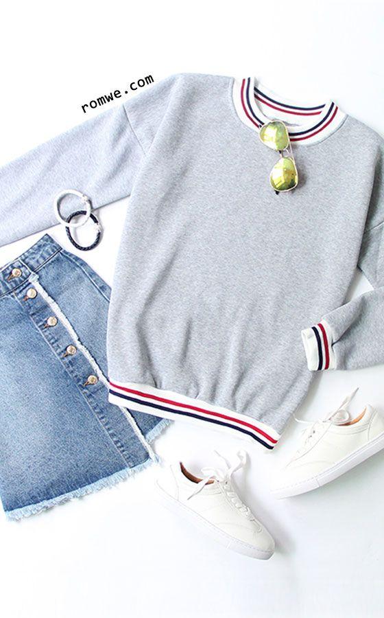 Heather Grey Contrast Striped Trim Sweatshirt