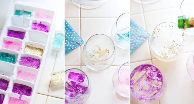 Add Edible Glitter to Ice Cubes to Make Sparkly Cocktails