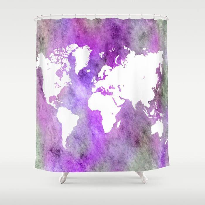 Shower Curtains Art Shower Curtain Bathroom Design 61 World Map Purple grey gray art L.Dumas by artbyLucie on Etsy