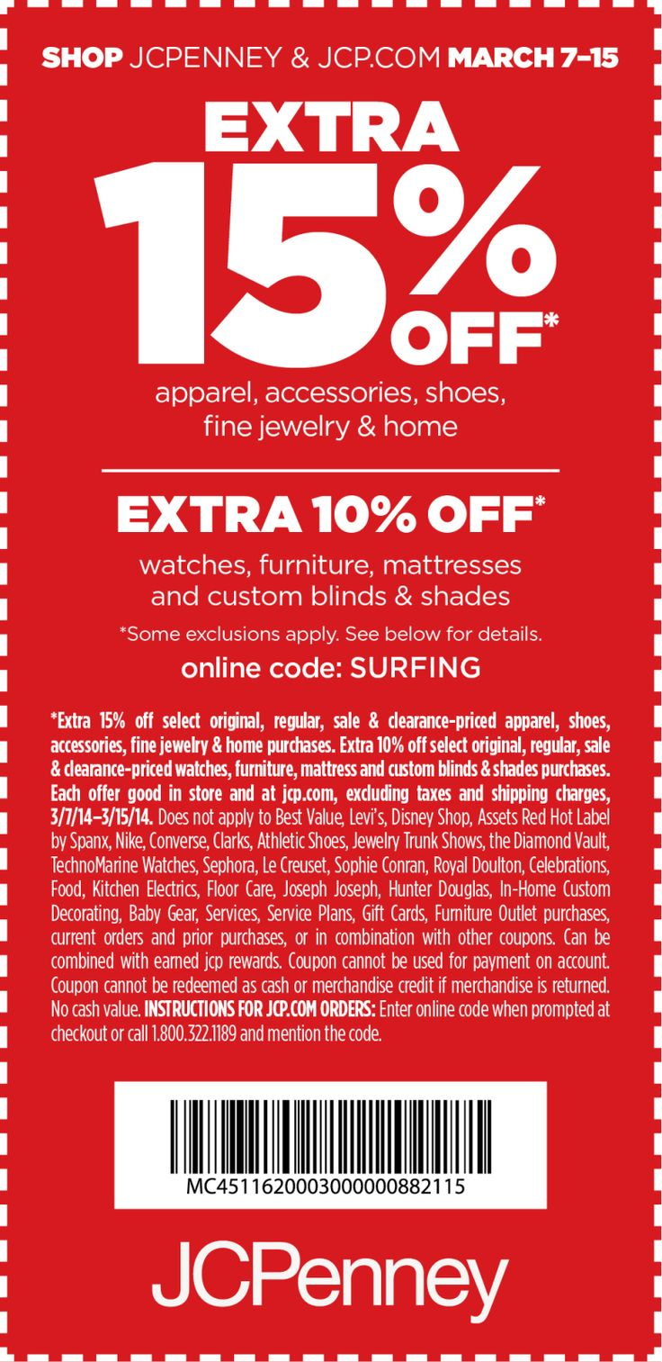 Pinned March 11th 15 Off At Jcpenney Or Online Via Promo Code Surfing Coupon Via The Coupons App Jcpenney Coupons Jcpenney Printable Coupons