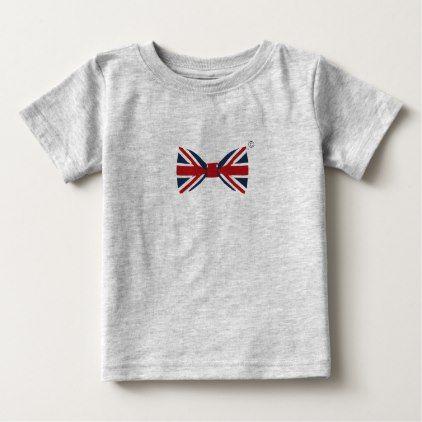 Baby Fine Jersey T-shirt - Union Jack Bow Tie - kids kid child gift idea diy personalize design