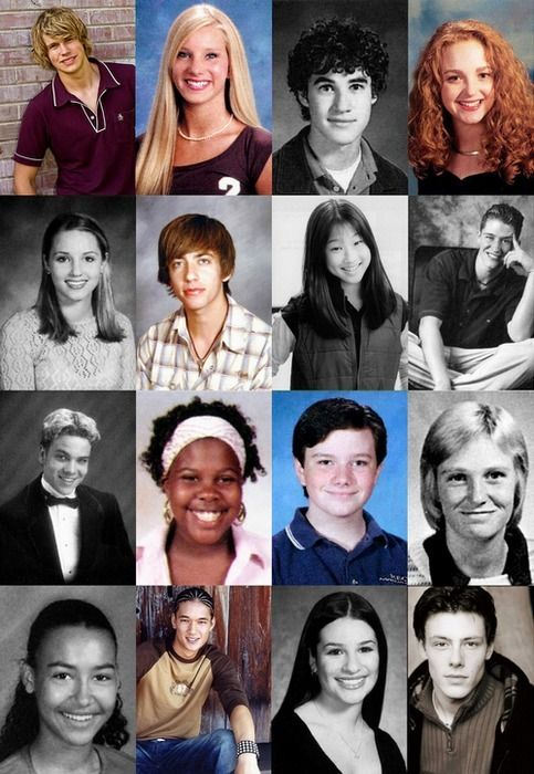 glee cast before....love that Emma's hair used to be long and curly, like mine!!!  There's hope!!! :)
