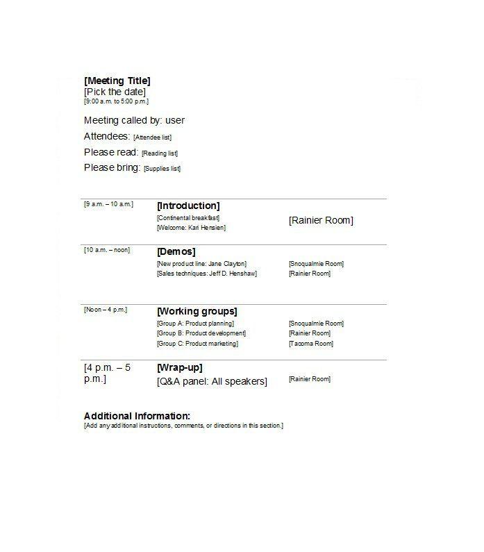 Meeting Agenda Template 05