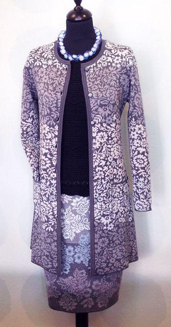 Oleana cardigan 196D, top 138O, skirt 306D, wool/silk. Made in Norway www.kompaniet.fi
