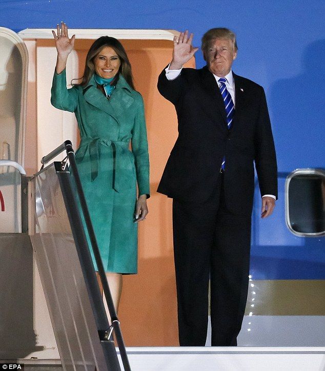 Melania Trump, meanwhile, looked radiant in an emerald green Diane von Furstenber coat. Arriving in  Poland July 5 or 6 2017