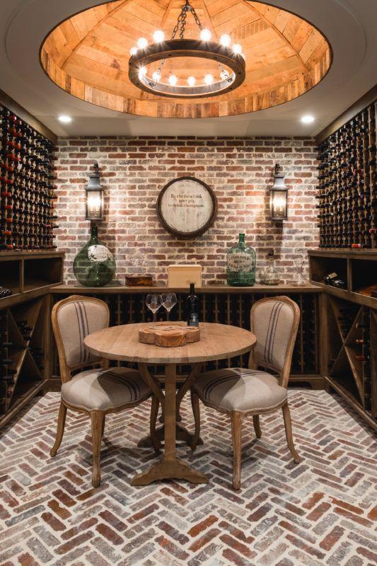 Wine Cellar Brick Walls Light Fixture Custom Wooden