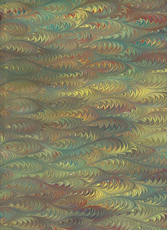 Marbled Paper, dark green Scallop pattern