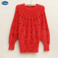 Women New Fashion Autumn Winter Knitwear Ladies Pullover Sweater Elegant Dots Knitting Sweaters Plus Size Christmas Sweater(China (Mainland))