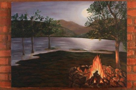 Oil painting_Campfire next to river