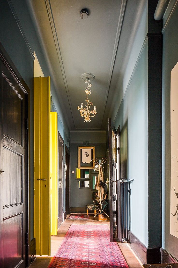 Painted ceiling and contrast doors, colors which add life to an elegant hallway. Find colors you love with the Color911 app at www.Color911.com #color
