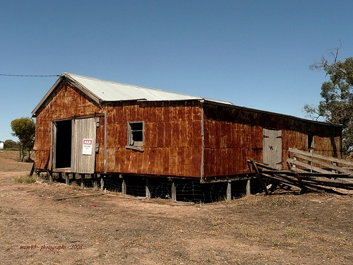 rusty but practical shearing shed at the Farm