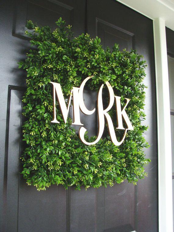 Square Monogram Boxwood Wreath, Boxwood Monogram Wreath, Outdoor Spring Wreath, Housewarming Gift, Wedding Wreath 20 INCH on Etsy, $125.00... My mono!!