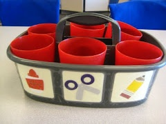 Supply caddies labeled...great for storage of extra supplies.  The students can find exactly what they need!