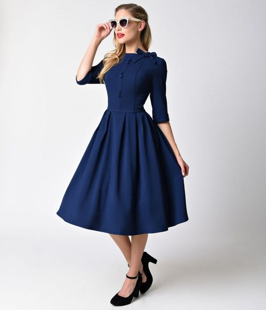 Hell Bunny 1950s Style Navy Blue Three-Quarter Sleeve Madison Swing Dress