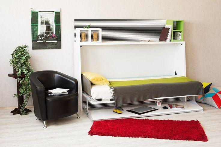 TABLE BED MODELİ  Tek kişilik yatay açılır duvar yatağı ve 2 metrelik çalışma masası bir arada.  Özel mekanizması sayesinde masa üstünde bulunan eşyalar açılıp kapanma sırasında sabit kalır.  İç yatak ölçüsü: 90 cm x190 cm x18 cm