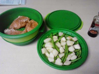 Cooking Asian Chicken with green beans and potatoes in the Tupperware Steamer. Patty's TW Recipes: Asian Steamed Chicken