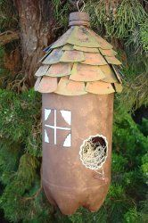 Plastic Bottle Bird House with CD Shingles.