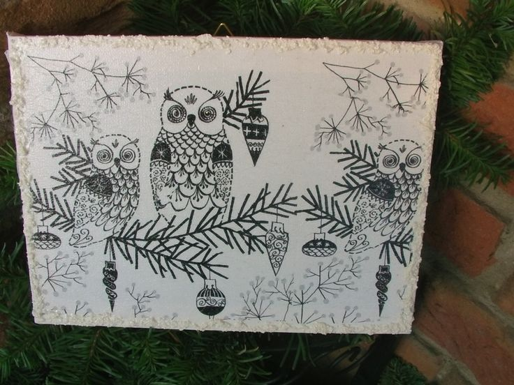 """Bild Keilrahmen """"Eulen im Winter""""  von Belinda auf DaWanda.com"""