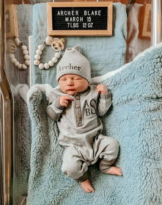 Personalised Non Personalised Newborn Baby Boy Romper Home Coming Baby Grow Set