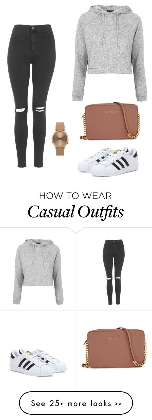 """Casual outting"" by nelly-niblett on Polyvore featuring Topshop, adidas and Michael Kors"