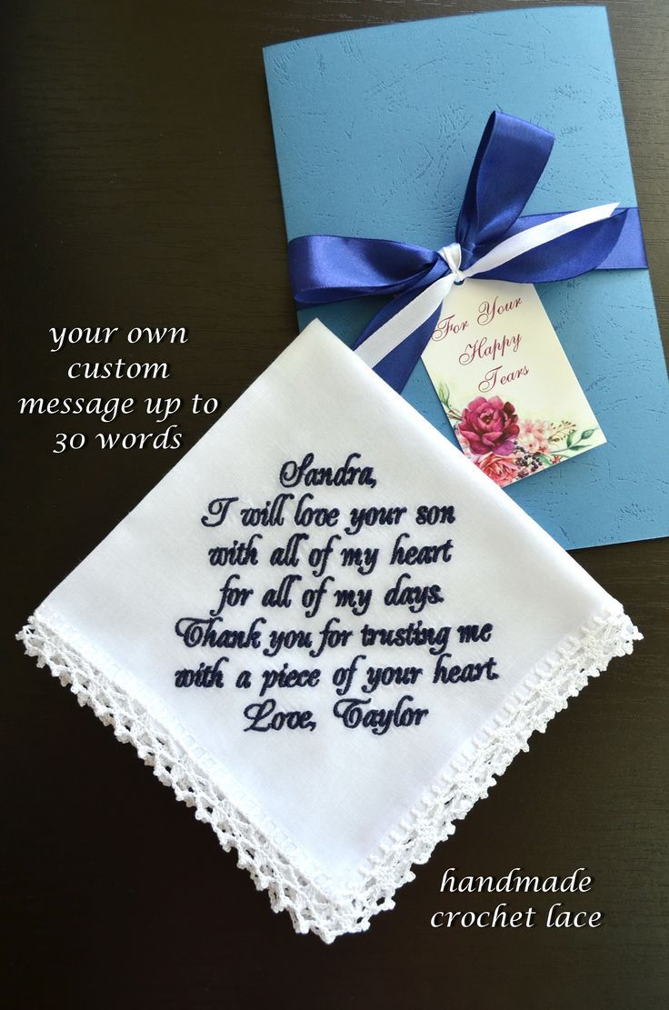 Mother of the groom gifts from bride Personalized Embroider Wedding handkerchief