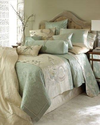 I love the combination of textures, embroidery and pearlescent tones that make this dragon bedding so luscious
