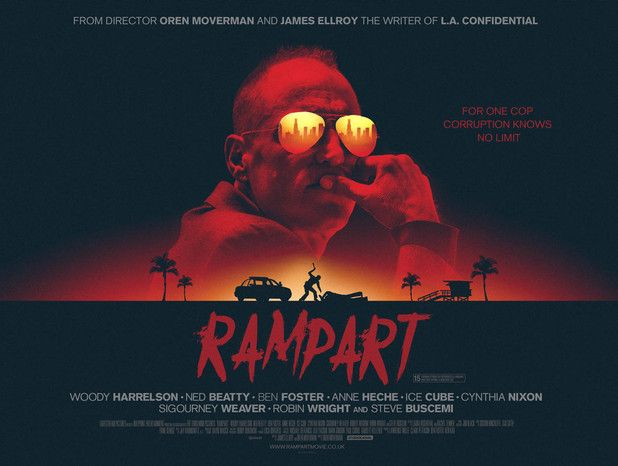 "Cool poster for the movie ""Rampart"" starring Woody Harrelson; who should have gotten a  statuette of satan known to most as an Oscar award, for his amazing acting performance."
