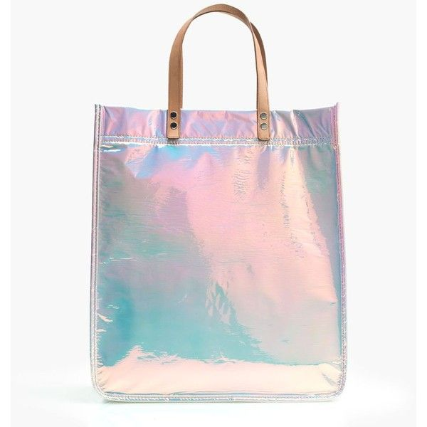 J.Crew Iridescent Tote (2.195.195 IDR) ❤ liked on Polyvore featuring bags, handbags, tote bags, j crew purse, tote handbags, pink tote, hologram purse and j crew tote bag