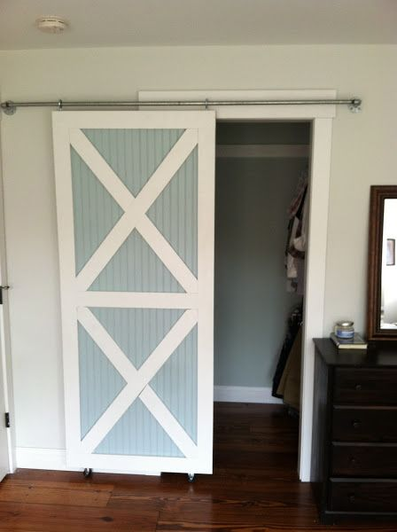 DIY sliding closet doors. Wonder if I could do this for the laundry room doors?
