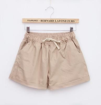 Summer Casual Solid Cotton Shorts Preppy Candy Colors High Waist Loose Beach Shorts Streetwear Pants Khaki One Size