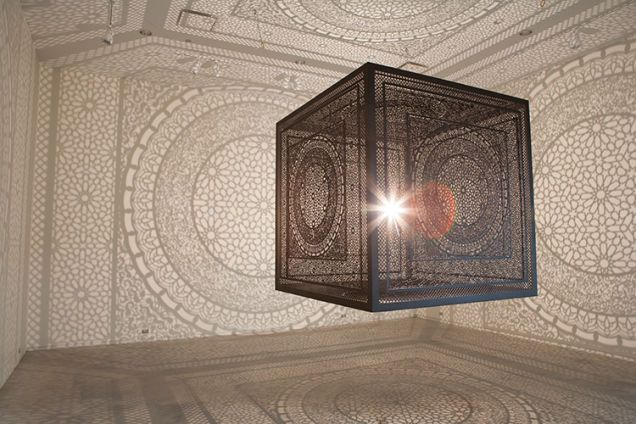 Twisted Shifter spotted this beautiful light sculpture by Anila Quayyum, a laser-cut cube lamp that completely changes the room into a magic mosque. In her own words:
