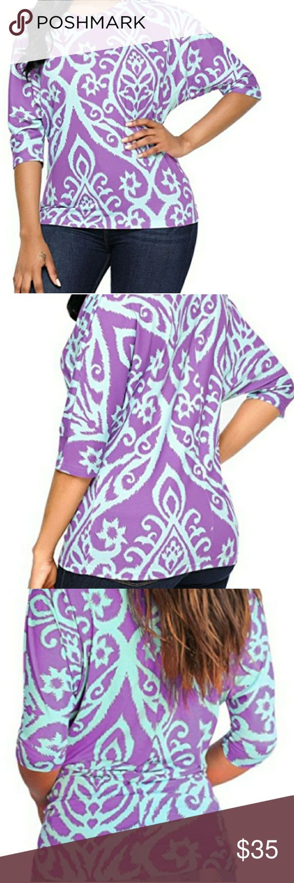 Beautiful print top Astylish Women Casual 3 4 Sleeve Paisley Print  Tops T-Shirts Purple  Material: polyester+spandex  Imported  Features:Round Neck,Batwing sleeve,3/4 Sleeve,Tendril Printed,Casual T-shirts,Regular Fit  This lightweight,round neck top is perfect for those carefree summer & Autumn!  Pair This top With Distressed Jeans and Booties  Suitable for leisure,travel,daily life Size XL (16-18) astylish Tops Blouses