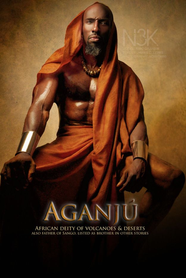 Aganju~African deity of Volcanoes and Deserts. Also father of Sango, listed as brother in other stories.