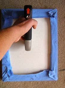 making art with old t shirts, crafts, home decor, Staple gun t shirt to canvas